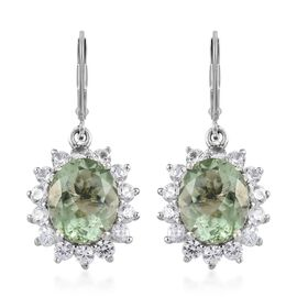 8.50 Ct Prasiolite and Cambodian Zircon Halo Drop Earrings in Platinum Plated Silver 4.54 Grams