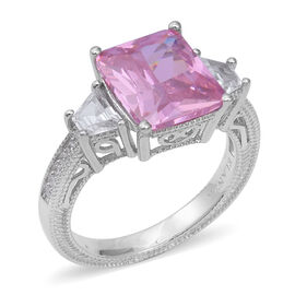 ELANZA Simulated Pink Sapphire (Oct), Simulated Diamond Ring (Size N) in Rhodium Overlay Sterling Silver, Sil