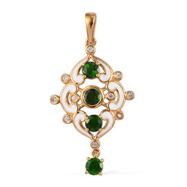 Russian Diopside and Natural Cambodian Zircon Enamelled Pendant in 14K Gold Overlay Sterling Silver