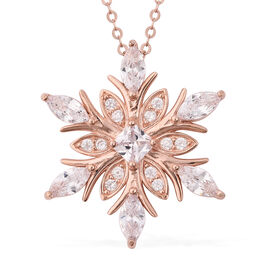 ELANZA Simulated Diamond Snowflake Pendant with Chain in Rose Gold Plated Silver 18 Inch