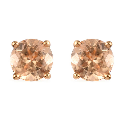 Imperial Garnet Stud Earrings (with Push Back) in 14K Gold Overlay Sterling Silver 2.00 Ct.