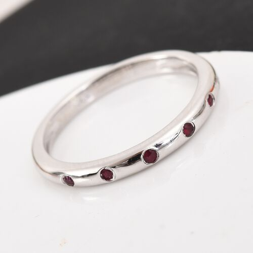 AA Ruby Band Ring in Platinum Over Sterling Silver
