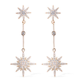 Simulated Diamond (Rnd) Star Dangle Earrings (with Push Back) in Yellow Gold Tone