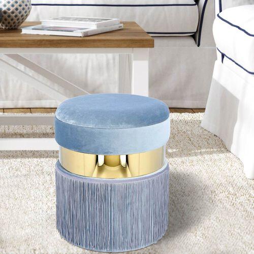 Storage Wooden Stool with Tassels (Size 33x33x40 cm) - Blue