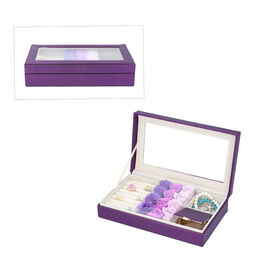 Shimmering Jewellery Box (25.4x5x15.2cm) with Matching Soap Flowers (12 Pcs) - Purple