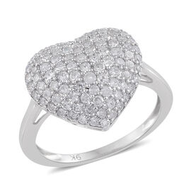 1 Carat Diamond Heart Cluster Ring in 9K White Gold 3.5 Grams