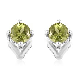 Chinese Peridot (1.00 Ct) Platinum Overlay Sterling Silver Earring  1.000  Ct.