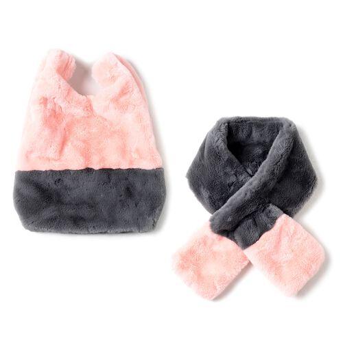 OTO-Faux Fur Handbag (Size 25x38 Cm) and Scarf (Size 12x88Cm)