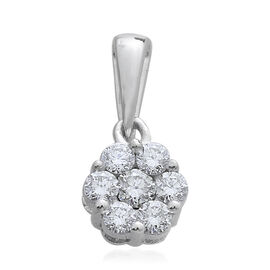 0.50 Carat Pressure Set Diamond Floral Pendant in 9K White Gold SGL Certified I3 GH