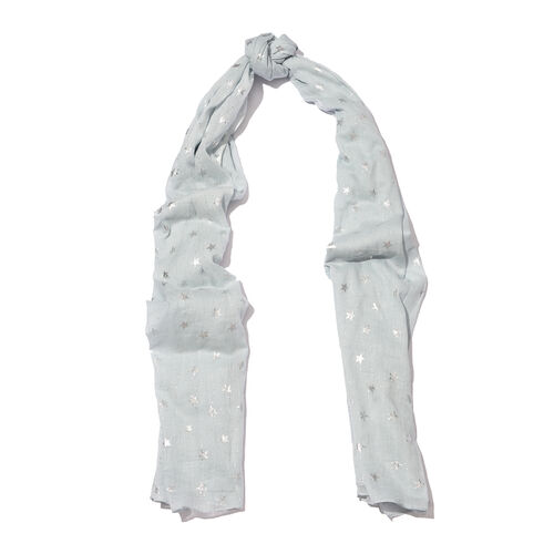 New for Season - 100% Cotton Pale Blue Colour Scarf with Silver Foil Star Print (Size 180x110 Cm)