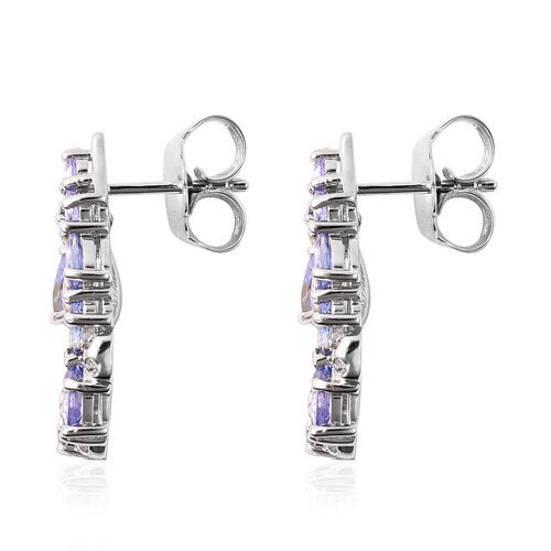 RACHEL GALLEY Misto Collection - Tanzanite Lattice Earrings (with Push Back) in Rhodium Overlay Sterling Silver 4.24 Ct.