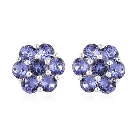 J Francis Crystal from Swarovski Tanzanite Crystal Floral Stud Earrings (with Push Back) in Sterling
