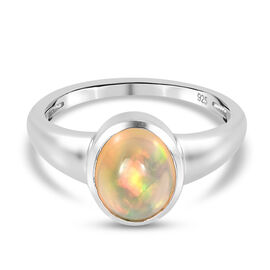 Ethiopian Welo Opal Ring in Platinum Overlay Sterling Silver 1.17 Ct.