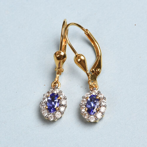 AAA Tanzanite and Natural Cambodian Zircon Lever Back Drop Earrings in 14K Gold Overlay Sterling Silver 1.00 Ct.