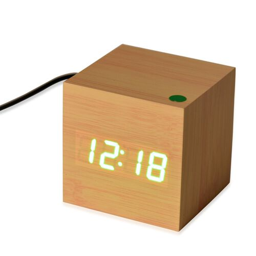 Wooden Style LED Clock (With Sound Activation, 3 Alarm Setting, Room Temperature, Date Display Feature) - Brown-Green