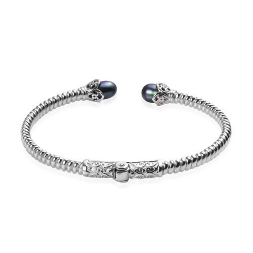 Freshwater Peacock Pearl Cuff Bangle (Size 7.5) in Platinum Plated