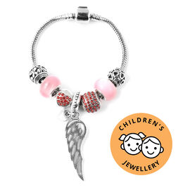 Charms Bracelet for Kids in Simulated Pink Colour Bead, Red Austrian Crystal Size 6.5 Inch with Silv