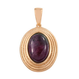 Ruby Zoisite (Ovl 14x10 mm) Pendant in 14K Gold Overlay Sterling Silver 7.75 Ct.