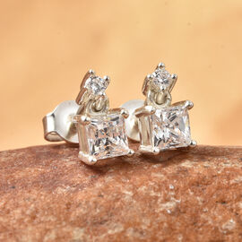 J Francis Sterling Silver Earrings (with Push Back) Made with SWAROVSKI ZIRCONIA 1.57 Ct.