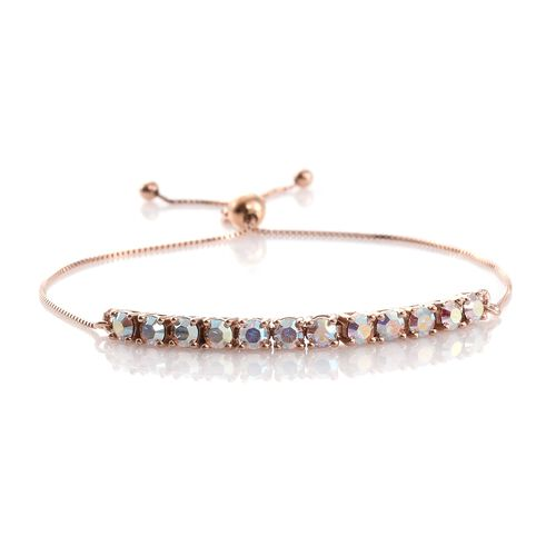 One Time Deal - J Francis Crystal from Swarovski - Aurore Boreale Crystal (Rnd) Bolo Bracelet (Size 6.5 to 8.5) in Rose Gold Overlay Sterling Silver, Silver wt. 3.29 Gms.