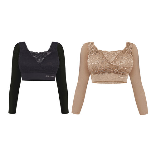 DOD - TJC Launch 2 Piece Set- SANKOM SWITZERLAND Patent Classic Bra with Lace and Sleeves (Size L/ 12-14 UK) Black and Beige