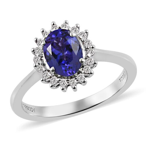 RHAPSODY 950 Platinum AAAA Tanzanite and Diamond (VS/E-F) Halo Ring 1.25 Ct.