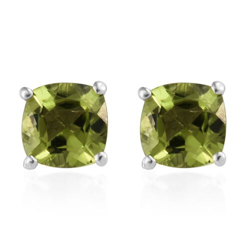 Hebei Peridot (Cush 6x6 mm) Stud Earrings (with Push Back) in Platinum Overlay Sterling Silver 2.000