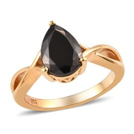 Elite Shungite (Pear) Ring in 14K Gold Overlay Sterling Silver 1.15  Ct.