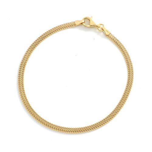 Viale Argento Yellow Gold Overlay Sterling Silver Herringbone Infinity Bracelet (Size 8)