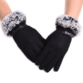 Solid Black Cashmere Gloves with Bowknot Detail and Grey Faux Fur Trim
