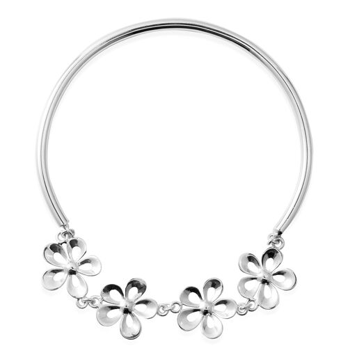 Designer Inspired- Sterling Silver Floral Bangle (Size 8.25), Silver wt 7.30 Gms