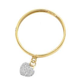 Italian Made - 9K Yellow Gold Diamond Dust Heart Charm Ring
