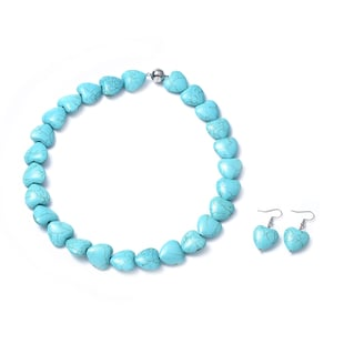 2 Piece Set -  Blue Howlite Necklace (Size 20) and Hook Earrings  115.80 Ct.