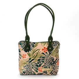 Sukriti 100% Genuine Leather Rainforest Tropical Green Hand Painting  Shoulder Bag (Size 32.5x23x6 m