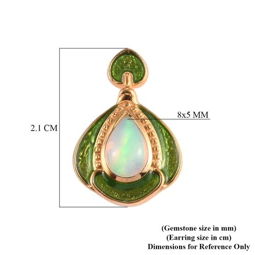 Ethiopian Welo Opal Enamelled Dangle Earrings (with Push Back) in 14K Gold Overlay Sterling Silver 1.05 Ct.