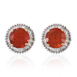 Signature Collection-ILIANA 18K Yellow Gold Extremely Rare Jalisco Fire Opal (Rnd), Diamond (SI/G-H) Stud Earrings (with Screw Back) 2.000 Ct.