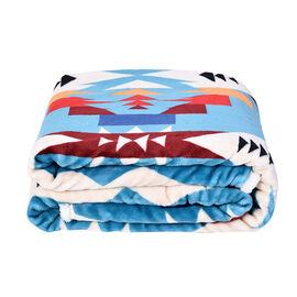 Tribal Pattern Flannel Sherpa Blanket (190x150cm) - Sky Blue, Cream and Multi Colour