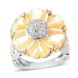 Jardin Collection Mother of Pearl and Zircon Floral Ring in Two Tone Silver 6.67 Grams