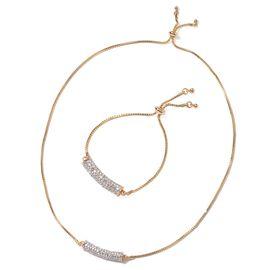 Set of 2 - Austrian White Crystal (Rnd) Bracelet (Size 7.5 Adjustable) and Necklace (Size 25 Adjusta