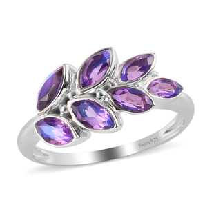 Sajen Silver- Quartz Doublet Rainbow Lavender  Ring in Rhodium Overlay Sterling Silver 1.710  Ct.