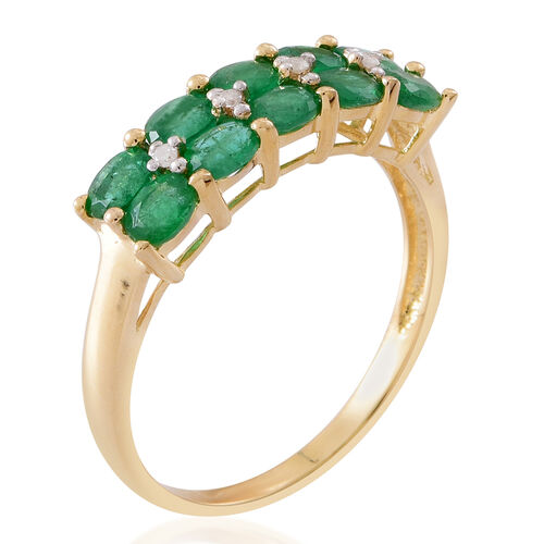 9K Yellow Gold AAA Kagem Zambian Emerald (Ovl), Natural White Cambodian Zircon Ring 1.540 Ct.