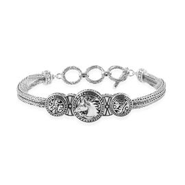 Royal Bali Collection - Sterling Silver Horse Tulang Naga Bracelet (Size 7.5) with T Lock, Silver wt 20.00 Gms.