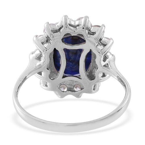 Rare Size Madagascar Blue Sapphire (Ovl 12x10 mm), Natural White Cambodian Zircon Ring in Rhodium Plated Sterling Silver 8.000 Ct.