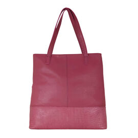 Assots London SIENNA Croc Leather Tote Bag in Carmine Pink (Size 38x13x35 Cm)