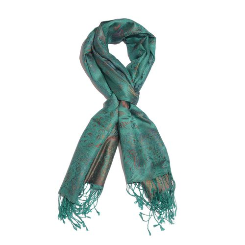 SILK MARK - 100% Superfine Silk Red and Multi Colour Floral and Leaves Pattern Turquoise Colour Jacquard Jamawar Scarf with Fringes (Size 180x70 Cm) (Weight 125-140 Grams)