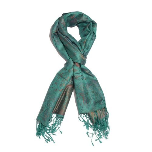 SILK MARK - 100% Superfine Silk Red and Multi Colour Floral and Leaves Pattern Turquoise Colour Jacq