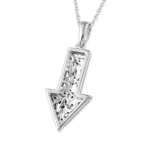 Blue and White Diamond (Bgt and Rnd) Arrow Pendant With Chain (Size 20) in Platinum Overlay Sterling Silver 0.255 Ct.