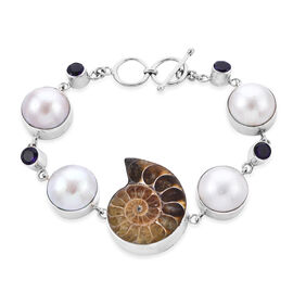 Limited Edition - Royal Bali Collection- Ammonite, White Mabe Pearl and Amethyst Bracelet (Size 8 wi