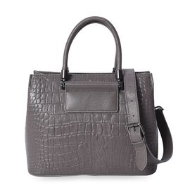 100% Genuine Leather Croc Embossed Satchel Bag with Detachable Shoulder Strap and Zipper Closure (Si