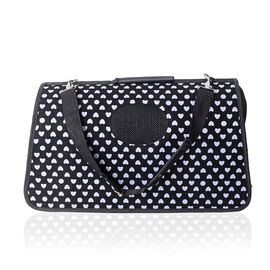 Black Colour Pet Carrier with White Heart Pattern (Size 45x28x20 Cm), Unfoldable Size (93x48 Cm) and